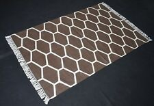Cotton Hand Woven Modern Designer Brown Area Rug 3x5 Feet Rug