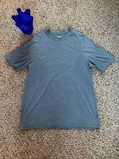 Lululemon Mens Shirt XL/XXL Running Active Wet Dry Warm Crew Blue Short Sleeve