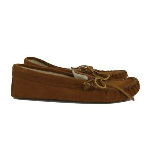 Minnetonka Mens Pile Lined Softsole Slip On Brown Moccasin Slippers Size US 10