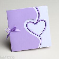 Lot de 10 Faire-parts mariage coeur mauve avec enveloppe mariage bapteme