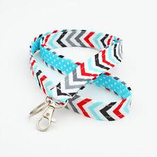 Fabric ID Holder Womens Lanyard Badge Neck Strap - blue red grey chevron stripes