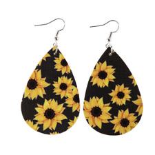 NEW Sunflower Teardrop Bohemian Earrings Faux Leather Boho