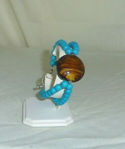 2 strand Chalk Turquoise 7.5in handmade bracelet w/ lampwork glass focal BR115