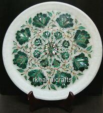11 Inches Marble Inlay Collectible Plate Royal Decorative Plate Malachite Stones