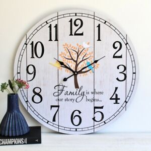 Large Family Tree Wooden Wall Clock, 60cm