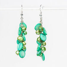 Green Pearl and Shell Earrings Natural Pearl and Shell Handmade Cluster Earrings