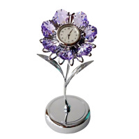 Crystocraft Lilac Flower Crystal Clock Ornament Swarovski Elements Gift Boxed