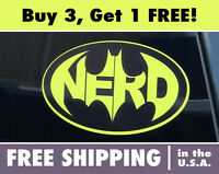 BATMAN LOGO BUMPER STICKER, Batman Nerd Logo Bumper Sticker