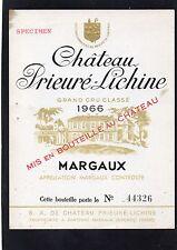 MARGAUX 3E GCC ETIQUETTE CHATEAU PRIEURE LICHINE 1966 NUMEROTEE    §22/07/17§