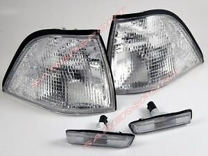 Pair Clear Corner Signal + Sidemarker Lights 97-99 BMW E36 Coupe /Convertible