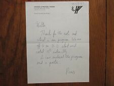 REES  JOHNSON  Signed 1984 Letter-Wisconsin-Parkside Men's Basketball Head Coach
