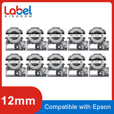 10PK LC-4WBN9 SS12KW Compatible Epson Black on White Label Tape 12mm LW300 LW400