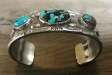 EXCEPTIONAL LARGE HEAVY VINTAGE NAVAJO SPIDERWEB TURQUOISE & STERLING ROW CUFF