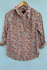 J Crew Liberty London Shirt 2 Pink Beige Floral Button Down Blouse XS Top