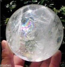 NATURAL RAINBOW CLEAR QUARTZ CRYSTAL SPHERE BALL HEALING GEMSTONE 60mm