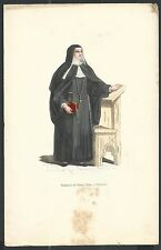 holy card grabado antiguo Monja de Santa Clara  image pieuse estampa santino