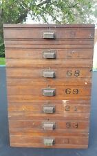 (1) Antique Wood Drawer with Painted Numbers & Ornate Drawer Handle