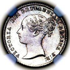 1838 Queen Victoria Great Britain Silver Fourpence 4 Pence Groat 4D 4P NGC MS64+