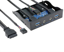 "3,5 ""Floppy Bay 20pin interna a 2 Port Hub USB 3.0 HD Audio PC PIASTRA ANTERIORE DE"