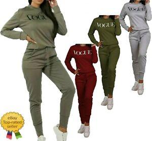New Ladies Style Women VOGUE Print 2 Piece Co-Ord Lounge wear Tracksuit  Long UK