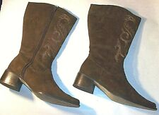 Ladies 8W Brown Faux Suede Western Boots Zip Sides by Silhouettes EC Clean