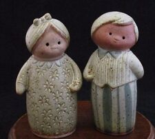 """UCCI Pair of Pottery Figures """"Lovers"""" Made in Japan"""