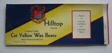 Wholesale Lot of 50 Old Vintage 1950's - Hilltop - Yellow Wax Beans Can Labels
