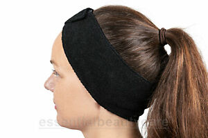 10 x Black STRETCHY terry towelling toweling headband with fastening