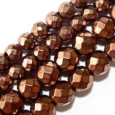 FACETED MAGNETIC HEMATITE BEADS COPPER BROWN PLATED 4MM ROUND BEAD STRANDS FMH4