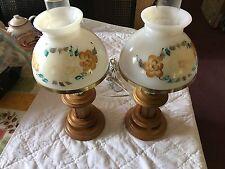 Vintage Pair of wood based Hurricane lamps