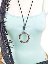Lagenlook Modekette Schmuck lang Leder Anhänger Spirale Creole silber Strass NEU