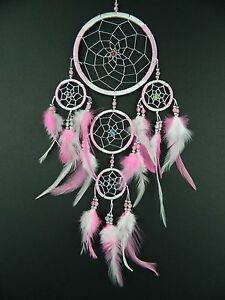 PRETTY LIGHT PINK AND WHITE NEW DREAM CATCHER GIRLS BEDROOM NURSERY DREAMCATCHER