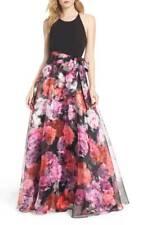 ELIZA J Black Pink Red Floral Print Organza Cross Back Waist Sash Ball-Gown 6