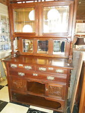 19th c American 2-piece cupboard with bevel mirrors and original hardware