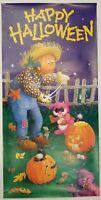 Vintage Happy Halloween Tall Door Poster Pumpkins Jack O Lantern Scarecrow