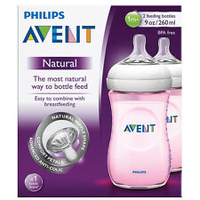 PHILIPS AVENT NATURAL FEEDING BOTTLE DOUBLE PACK 2 X 260ml / 9oz SCF694/27 PINK