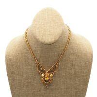 "Vintage Fashion 14"" Gold Tone Butterscotch Colored Rhinestone Costume Necklace"