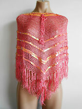 Free Size 8 10 12 Pink Fringed Lace Triangular Shawl Scarf Style Top BNWOT