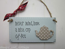 KITCHEN TEAPOT TEA CUP SIGN PLAQUE UNION JACK RIBBON painted in Duck Egg Paint