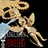10K Rose Gold Finish Genuine Diamond Praying Angel Wings Pendant Charm 0.33 Ctw