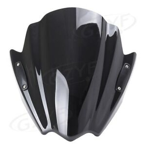 Universal Windscreen New Double Bubble Motorcycle Front Screen ABS Black Racing