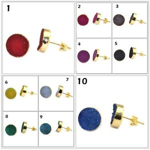 Round Multi-Color Real Sugar Druzy Quartz Gold Plated Drusy Stud Earring 12mm