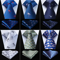 Animal Pattern Men's Silk Neck Tie Pocket Square Set Classic Ties AN01