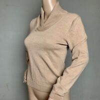 Womens BROOKS BROTHERS 346 SIZE S 100% Merino Wool Buff Beige Cowl Neck Sweater