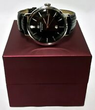Mens Vintage 7010 Accurist Black Leather Strap Watch - Boxed