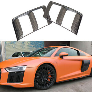Fit For Audi R8 16-18 Front Bumper Side Air Vent Grill Cover Carbon Fiber 2PCS