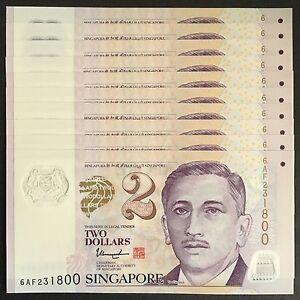 2017 SINGAPORE 2 DOLLARS POLYMER P-46h UNC LOT 10 PCS>W/1 SOLID STAR THARMAN NR