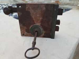 Antique Holy Land Ottoman Turkish Wrought Iron and Brass Latch Hardware Lock Key