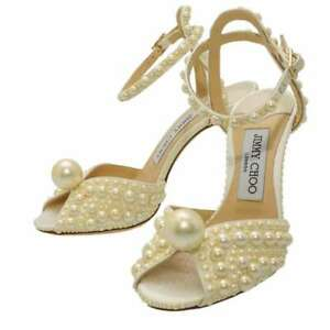JIMMY CHOO White Satin / Sandals with Pearl Size 35 Satin/Faux Pearl /Leathe...