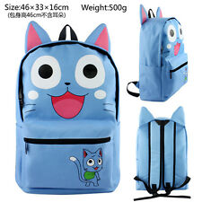 Anime Fairy Tail Blue Happy Cat Cosplay Backpack School Travel Shoulder Bags